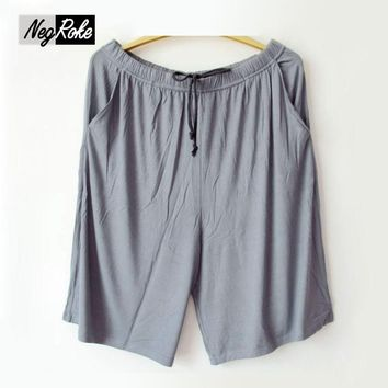 New Plus size Summer modal male sleep bottoms pure color casual sleep beach pants men plus size britches shorts sheer mens pants
