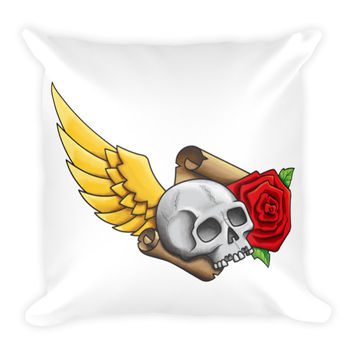Skull, Wing, Rose And Parchment Goth Style Pillow