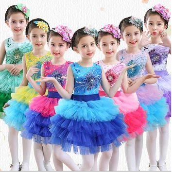 7 colors Children 's Performance Costumes Modern Dance Sequins fancy Dresses Children's Performance Stage wear Ballroom costumes
