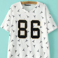 86 Graphic Printed White Metal Embellished Short Sleeve Shirt