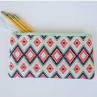 Aztec zipper pouch, mint pencil case, navajo pouch, makeup brush pouch, mint navy coral, great gift idea, small coin pouch, purse organizer
