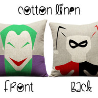 Joker and Harley Quinn, throw pillows, Joker, Harley Quinn, suicide squad, Gotham, Batman and Robin, decorative pillows, dc comics, gifts