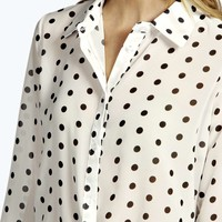 Marsa All Over Spot Woven Dipped Back Shirt