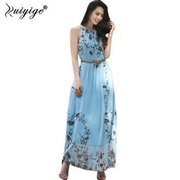 Ruiyige Women Summer Sexy Off Shoulder Long Dress Floral Print Casual Maxi Chiffon 2018 Boho Pleated Party With Belt Dresses