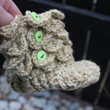 "Ready to ship -Padraig Slippers Crochet Boys Crocodile Stitch  Booties, shoes, socks 4.5"" long will fit 6-10 months old"