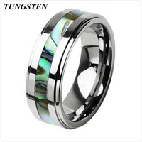 8mm Men's Tungsten Carbide Abalone Inlay Engagement Wedding Ring