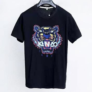 Kenzo Summer Fashion New Bust Embroidery Letter Tiger Women Men Top T-Shirt Black