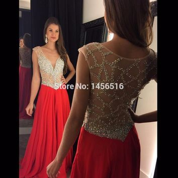 Sparkly Long Red Prom Dresses 2017 V-neck robe de bal Sequined Cap sleeve vestido de festa Beading Formal Evening Party Gowns