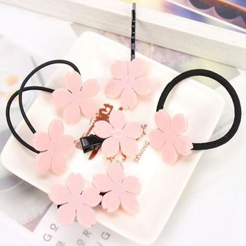 Cherry Blossoms Flower Hairpin Bobby Pin Hair Band Rope Hairband Fashion Hair Accessories For Children & Girls