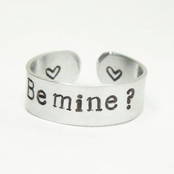 Be mine? ring - Valentine's gift - Stamped couple ring - Valentine gift - Boyfriend ring girlfriend ring - Couples rings - Relationship ring