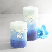 Sapphire Orchid Layered Pillar Candles