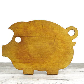 Vintage Pig Cutting Board, Rustic Decor, Farmhouse Kitchen