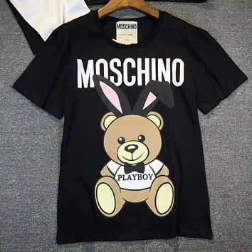 Moschino Fashion Print Bear Tunic Shirt Top Blouse