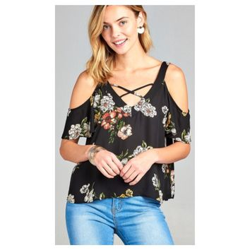 """Adorable Me"" Criss Cross, Cold Shoulder Floral Black Top"