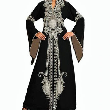 Black and Silver Abaya