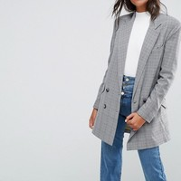 ASOS Longline Blazer in Check Print at asos.com