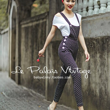 Le Palais Vintage Fall/Winter Retro Polka Dot High Waist Slim Hips of Pencil Bib/Pant LPV063