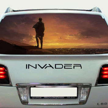 Perfik301 Full Color Print Perforated Film Truck SUV Back Window Sticker Attack on Titan
