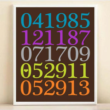 Personalized Special Dates Subway Art Print: Custom Birthday, Engagement, Wedding Date Poster in Chocolate & Brights
