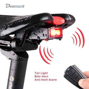 Bicycle Rear Light + Anti-theft Alarm USB Charge Wireless Remote
