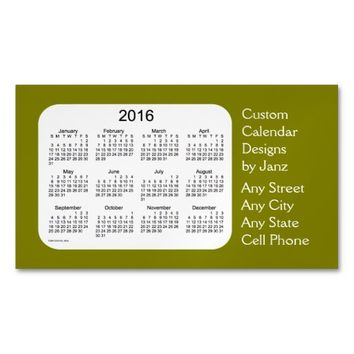 2016 Olive Business Calendar by Janz Magnet Magnetic Business Cards (Pack Of 25)