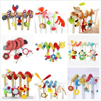 0-12 Months Baby Toddler Animal Spiral Rattles Toys For Baby Stroller Kids Newborns Educational Teether Toys