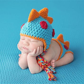 Newborn Photography Prop Crochet Knitted Cute Dinosaur Shape Infant Clothing Set Baby Photo Props for Kids