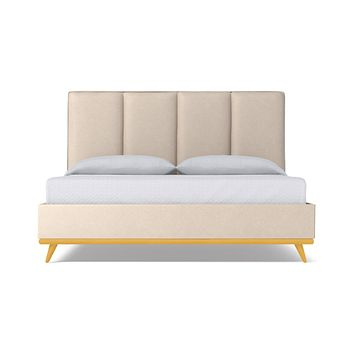 Carter Upholstered Bed VEGAN LEATHER :: Leg Finish: Natural / Size: California King