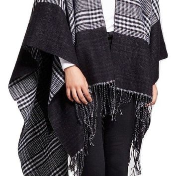 Women's Ruana Wrap with Print and Fringe, Black