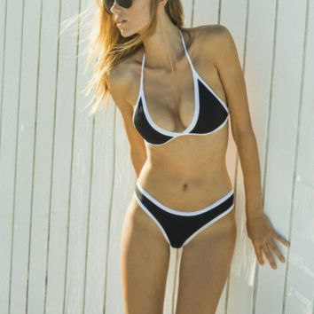 hot contrast show thin two piece bikinis swimwear bathsuit