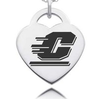 Central Michigan CMU Chippewa's Laser Engraved Sterling Silver Heart Charm