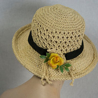 Vintage Straw Beauty Garden Hat Yellow Rose Black Ribbon