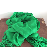60s Large Fringe Kelly Green Scarf