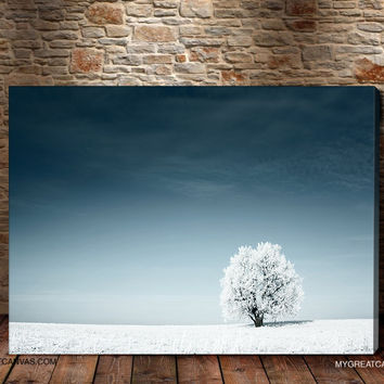 Large Wall Art Winter Landscape and White Tree Canvas Print | Flower Art Canvas Print for Wall Art