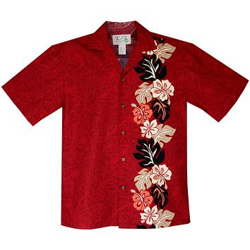 Surfer Hibiscus Red Vertical Border Hawaiian Shirt