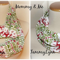 Mommy & Me Reindeer Red Green Pattern Infinity Scarves READY to SHIP Jersey Knit Soft Women's Girls Boys Accessories