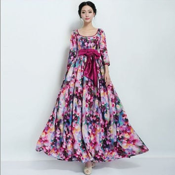 SALE Bohemian Floral Print Maxi A-line Dress Wedding Bridesmaid Thick Chiffon Full Pleated Skirt Ball Gown Day Prom Party Holiday Christmas