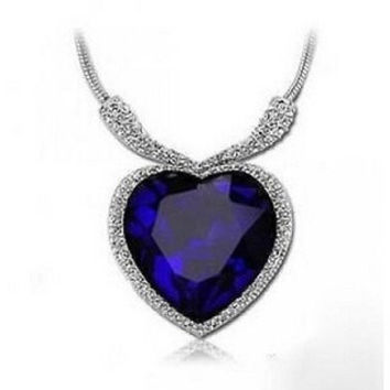 BIRTHSTONE JEWELRY BLUE CRYSTAL PENDANT LARGE ELEGANT TOP WHITE GOLD PLATED HEART SHAPE NECKLACE