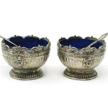 Antique Salt Cellar with Spoon - Sterling Silver with Cobalt Glass Insert from Corbell & Co - Open Salt or Nut Dish
