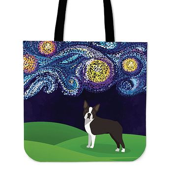Starry Night Boston Terrier Linen Tote Bag - Promo