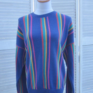 Vintage Striped Sweater Pullover Crewneck Sweater Bright Colors Blue Cotton Knit Vertical Stripes Womens Medium Slouchy Oversized