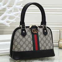 GUCCI Women Fashion Leather Tote Shoulder Bag Satchel