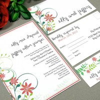 Floral Garden | Modern Wedding Invitation Suite by RunkPock Designs | Rustic Flower Swirl Handwritten Script Outdoor Spring Invitation Design | shown in red, orange, forest and lime green