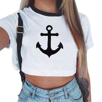 DCC3W 2017 New Fashion brand Summer style Anchor printed t shirt women tops t-shirt O-neck cotton tee