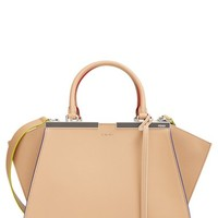 Fendi 'Small 3Jours' Leather Shopper - Beige