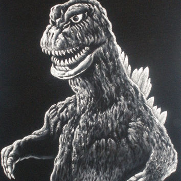 Godzilla King of monsters Gojira monster black velvet oil painting handpainted signed art