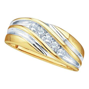 10kt Yellow Two-tone Gold Men's Round Diamond Wedding Anniversary Band Ring 1/4 Cttw - FREE Shipping (US/CAN)