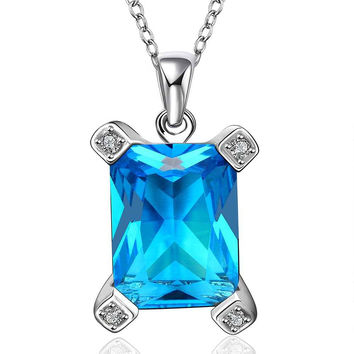 Platinum Plated statement necklace square blue sky sapphire jewelry colares femininos necklaces pendants couponFBLN 23 MP