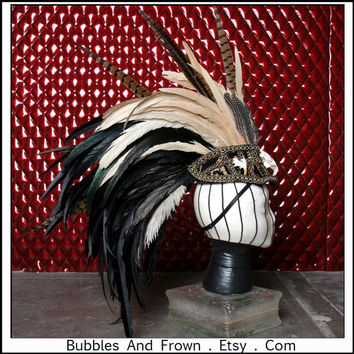 Black N Tan.... Feather Headdress with Skulls