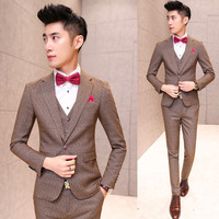 2015 Fashion Brown Wedding jacket for men Dress 3 Piece Men's groom Suit Tuxedo Jacket Custom Made Men Suite Mens Slim Suits Set